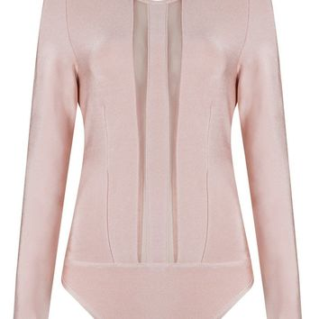 Honey Couture MINA Blush Pink Long Sleeve Mesh Bodysuit
