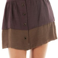 Coffee COLORBLOCK A-LINE SKIRT @ KiwiLook fashion