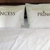 pillow cases, His and Hers BEDROOM  SET, Prince-Princess  embroidered pillows, unique pillows, love pillows