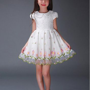 [22.99] In Stock Chic Lace Jewel Neckline A-Line Flower Girl Dresses With Embroidery - dressilyme.com