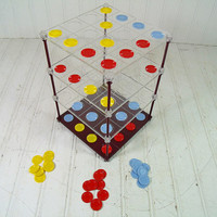 Vintage Qubic Parker Brothers Board Game - Retro Game Night 3D Tic Tac Toe - Mid Century Futuristic Fun in the Atomic Era - Complete Set