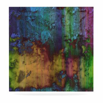 "Nina May ""Rainbow Saltwater"" Multicolor Painting Luxe Square Panel"