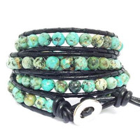 Turquoise Leather Wrap Bracelet- By Leather Wraps