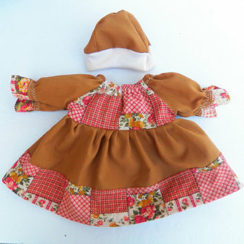 "Handmade Bitty Baby Doll Clothes Twin Girl or Baby Doll 15"" Brown Peasant Dress Flower Floral Pink Ivory Hat Cap Fall Autumn Harvest"