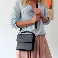 Small leather satchel - Black leather bag - Leather crossbody bag - Small messenger bag - Black leather purse - Top handle bag - Mini bag
