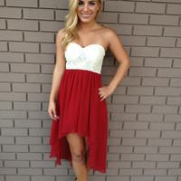 Crimson Hi Low & Ivory Lace Bodice Strapless Dress
