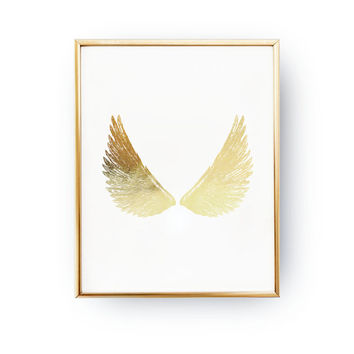 Gold Wings Print, Real Gold Foil Print, Wings Wall Art, Minimal Wall Art, Wings Angel Print, Livingroom Decor, 11x14 print, Gold Wings Angel