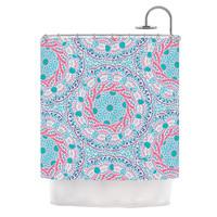 "Miranda Mol ""Prismatic White"" Blue Pink Abstract Shower Curtain"