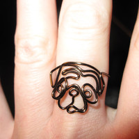 Wire Wrapped Mini Pug or Any Dog Head MADE to ORDER Ring