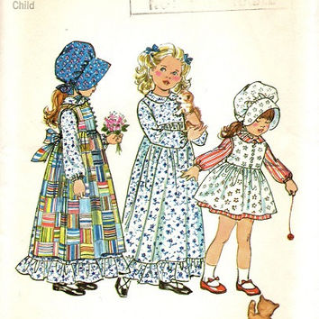 Retro 70s Simplicity Sewing Pattern Holly Hobbie Fashion Full Length Dress Apron Bonnet Pinafore Uncut FF Size 2