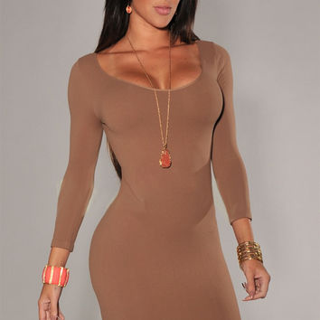 Brown Long Sleeves Scoop Neck Bodycon Mini Dress