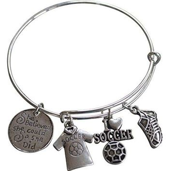 AUGUAU Soccer Bracelet, Soccer Jewelry, Adjustable Girls Soccer Bracelet- Soccer Charm Bracelet- She Believed She Could- Perfect Soccer Gifts for Girls