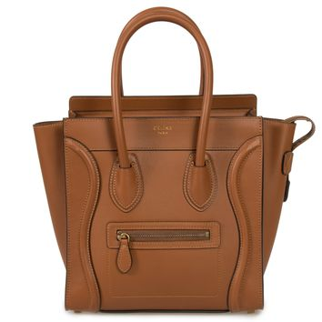 Celine Micro Luggage Tote Bag in Smooth Saddle Brown Leather
