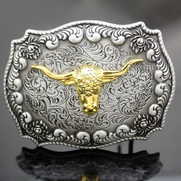 Western Vintage Silver Engraved Gold Horn Bull OX Head Rodeo Cowboy Leather Tactical  Belt Cinto Buckle Men Jewelry