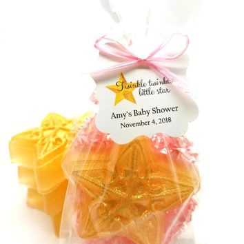 Gold Pink Star Soap Baby Shower Favors with Twinkle Twinkle Little Star Tags
