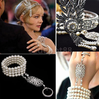 1920s Vintage Great Gatsby Flapper Headbands Bracelet Ring Set