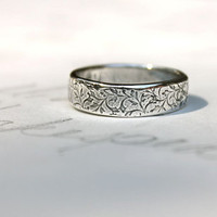 happily ever after mens wedding band ring . thick recycled silver ring . vine leaf ring . engraved words inside by peacesofindigo