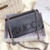 GUCCI High Quality Hot Sale Fashionable Women Leather Metal Chain Handbag Shoulder Bag Crossbody Satchel