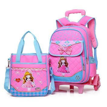 Stylish Princess Style Girls Children School Bag With 2/3 Wheels Trolley Backpack Gift For Girls Removable wheeled Bag mochila