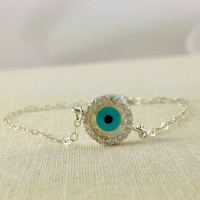Evil Eye Bracelet, Celebrity Bracelet, Lucky Charm Bracelet, Sterling Silver, Christmas Gift, Birthday Gift, Mother Gift, Rhinestone, Blue