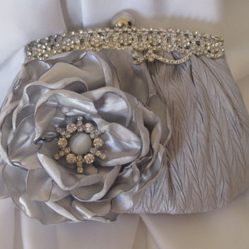 Silver Grey  Satin Rhinestone Framed Wedding Bridesmaid Clutch  with Silver Satin Flower and a Gorgeous  Grey and Rhinestone Accent