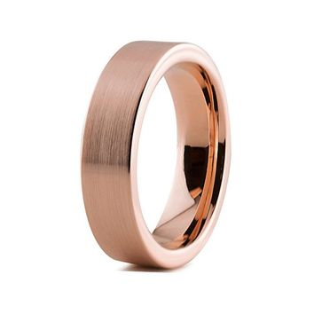 Brushed Rose Gold Tungsten Band