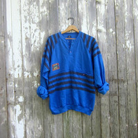 Retro Sweater Baggy Blue Striped Raglan Sweatshirt Slouchy 1980s Athletic Henley pullover Hipster Indie GIANI Sportswear Large