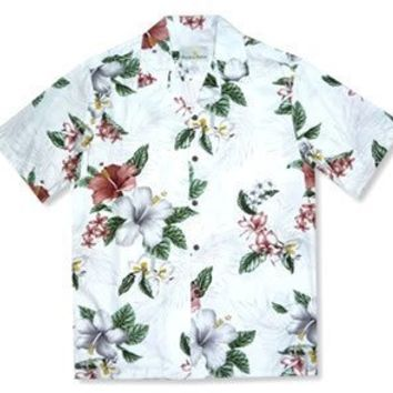 lumahai white hawaiian rayon shirt