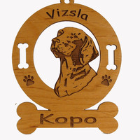 4193 Vizsla Head Ornament Personalized with Your Dog's Name