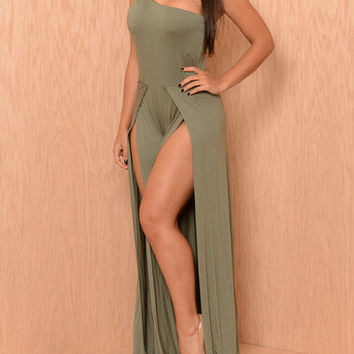 Gray One Shoulder Sleeveless Maxi Dress with Double Slit
