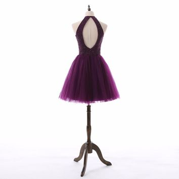 Tulle Halter neck A Line Mini Short Cute Purple Dresses