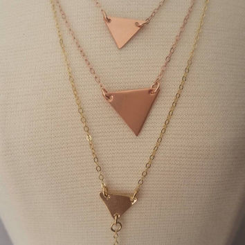 Layered necklace set, Gold Layer necklace, Geometric layering necklaces, Layered necklaces, Layered and Long necklace, Triangle layering
