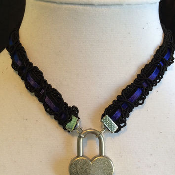 ROYAL BLUE Satin Ribbon and Black Velvet submissive Day Collar with Working Heart Padlock, 21 satin colors to choose from