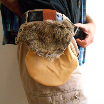 SALE Leather Belt Bag, Handmade, Hip Pouch with Natural Rabbit Fur, Hippie, Boho, Native American, Rendezvous, Mountain Man, Gift For Him