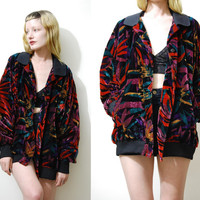 VELVET JACKET 80s Vintage Bomber Colourful Rainbow Abstract Coat Oversized Slouchy Club Kid Grunge vtg 1980s L