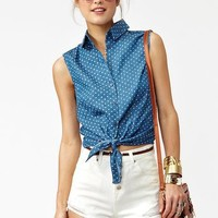 Spotted Chambray Top in Clothes at Nasty Gal