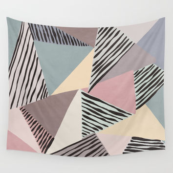 Modern irregular Stripes 03 Wall Tapestry by vivigonzalezart