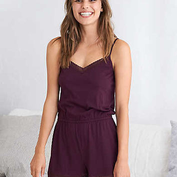 Aerie Softest® Sleep Romper , Deep Plum