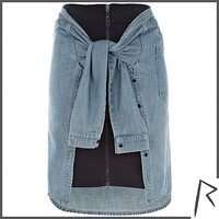 Navy Rihanna tied denim shirt zip front skirt
