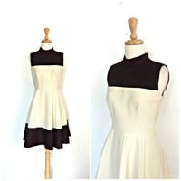 1960 Dress - pleated dress - two tone - fit and flare - full skirt dress - cream and brown - Small - Medium