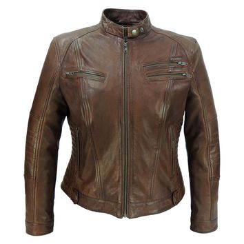 Ladies Elektra Brown Washed Leather Jacket - Vintage Style