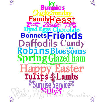 Easter Art, Easter Egg Word Art, Unique Word Art Typography, PRINTABLE DIGITAL FILE