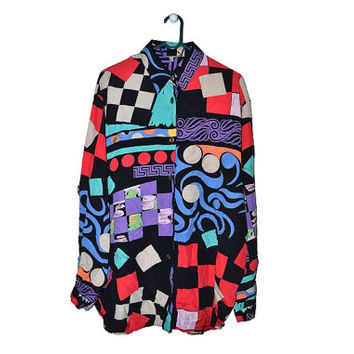 Vintage Geometric Button Up Blouse Colorful Womens Tunic Shirt 80s 90s 1980s 1990s Large L XL XXL