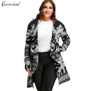 Plus Size Skull Knitted Tunic Cardigan Autumn Outerwear Women Long Sleeve Casual Loose Long Sweaters