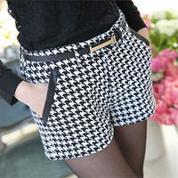 Low Waist Leather Pocket Casual Shorts