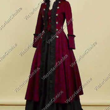Victorian Edwardian Steampunk Coat Dress Punk Theater Reenactment Clothing 176