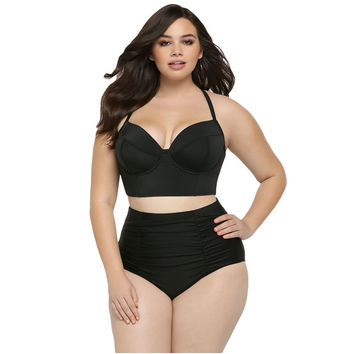 Black High Waist Plus Size Swimsuit