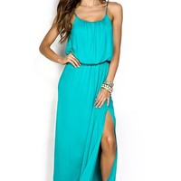 Melanie Teal Green Simple Draped Casual Maxi Dress