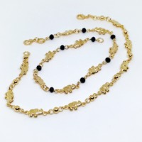 1-0093-g8 Gold Filled Elephant Links Anklet.