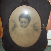 RARE and  Very Old Victorian Charcoal Portrait of an African American Baby